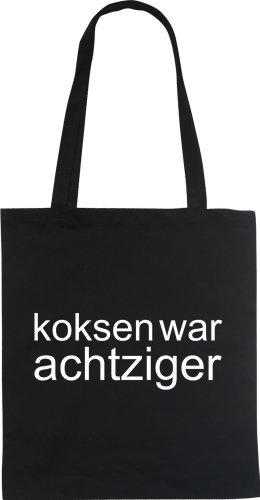 KOKSEN WAR ACHTZIGER Designer Fun Beutel tote bag Baumwolltasche WIZUALS, schwarzweiss