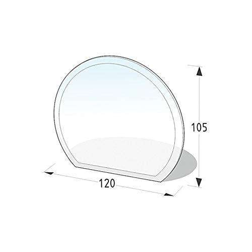 Lienbacher® - 21.02.883.2 - Funkenschutzplatte für Kaminofen - Glasplatte 8 mm (Kreisabschnitt) - mit Facette, klar