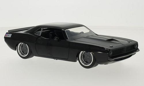 Barracuda-auto-modell (Plymouth Barracuda, schwarz/grau, Fast & Furious, 1970, Modellauto, Fertigmodell, Jada 1:24)