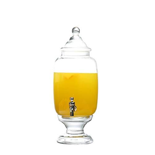 Bleifreies Glas Saft Glas Dessert Tisch kaltes Trinkwasser Flasche mit Basis Wasserhahn Zitrone Teekanne Eistee Zylinder 5 Liter XINYALAMP (Size : A) -