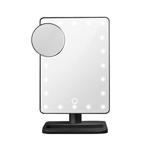 LUCKYKS Schmink Spiegel 20 LED 12 ' Bildschirm Touch-screen 10-fache Vergrößerung Lupe LED...