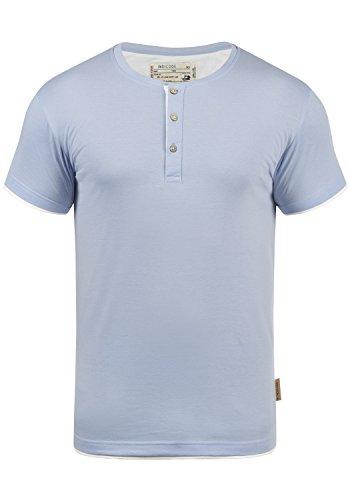 Indicode Tony Herren T-Shirt Kurzarm Shirt Mit Grandad-Ausschnitt, Größe:L, Farbe:Sky Way (403)