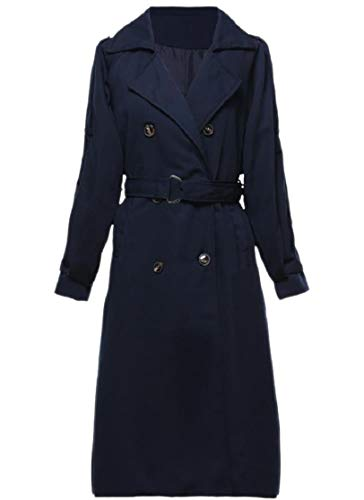 CuteRose Women Double Breasted Belted Tops Outwear Trim-Fit Lapel Overcoat Navy Blue L Double Breasted Coat Petite