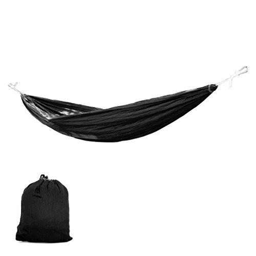 Hangematten Moskitonetz-hangendes Bett-Fallschirm-Stoff Outdoor Indoor Camping Reise 260 * 145cm Schwarz (Moskitonetz Für Bett Schwarz)