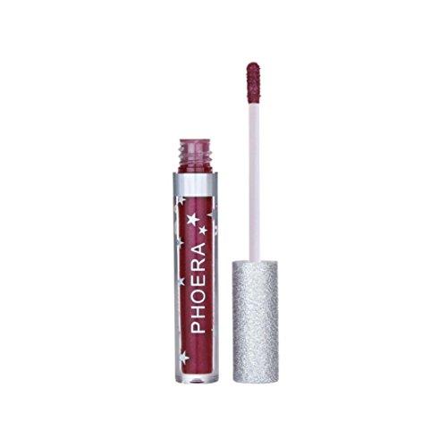 Voberry Rouge à Lèvres Beauté Matte To Glitter Liquid Lipstick Maquillage pour les lèvres à lèvres waterproof (D)