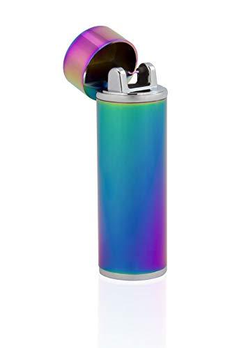 TESLA Lighter T02 | Lichtbogen Feuerzeug, Plasma Single-Arc, elektronisch wiederaufladbar, aufladbar mit Strom per USB, ohne Gas und Benzin, mit Ladekabel, in Edler Geschenkverpackung, Regenbogen