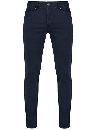 oodji Ultra Uomo Pantaloni 5 Tasche in Cotone, Blu, IT 46 / EU 42 / M