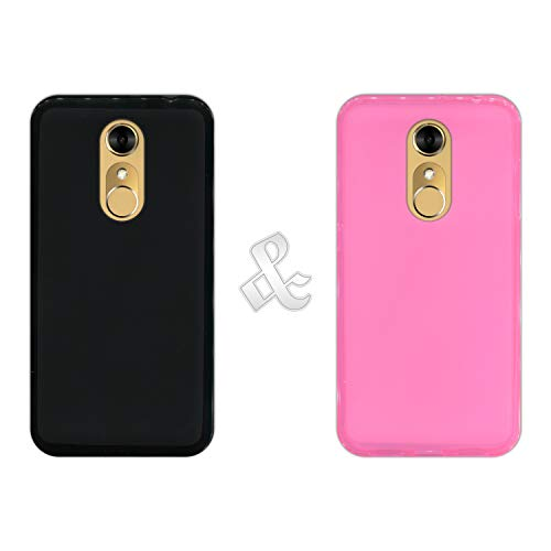 Pack [2 Stück] Hülle [Schwarz + Pink] für [ZTE Blade A910] - Hülle Silikon Flexibel Gel, Stoßfest, Harte Schutzhülle, Schutz vor Kratzer & Staub