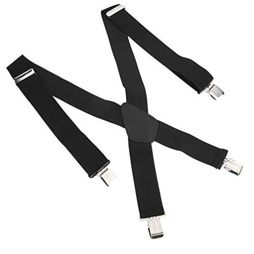 Unisex X-Shape Elastic Clip-on Suspenders Strap Adjustable Braces with 4 Clip Suspender Belt Strap for Women Men Womens 4