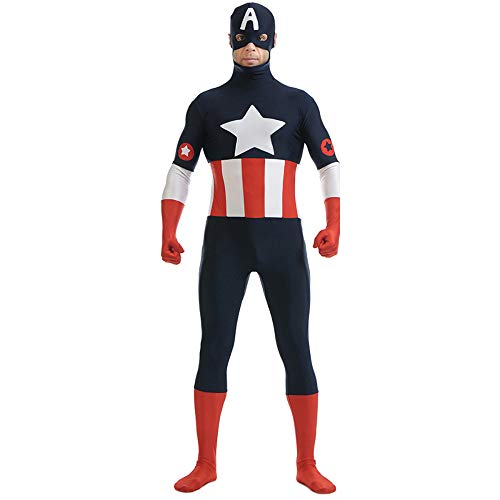 QQWE Amerika Kapitän Cosplay Kostüm Kostüm Halloween Weihnachten Film Requisiten Themed Party Body Jumpsuits Attire,A-XXL