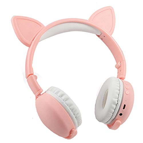 FASBHI Bluetooth Headset, Cartoon Cat Ear Stirnband Faltbare Kopfhörer, Noise Reduction Kinderkopfhörer mit Mikrofon für Erwachsene Kinder