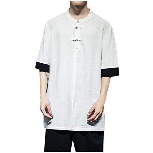 TWISFER Herren Chinesisch Retro Hemd Leinenhemd Halber Ärmel Regular Fit O-Ausschnitt Einfarbig Freizeithemd für Männer Geschäft Party Täglich Sommer Hemden T-Shirts - Slim-tee-20 Beutel