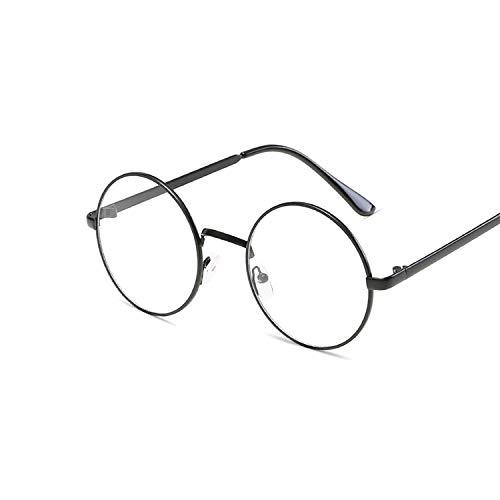 YUHANGH Runde Damen Sonnenbrille Retro Metallrahmen Brillen Frauen Klare Linse Sonnenbrille Männlich Weiblich Optische Kreis Ebene Spiegel