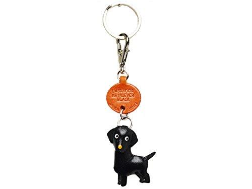 Schlüsselanhänger Labrador Retriever aus schwarzem Leder, kleiner Schlüsselanhänger, VANCA Craft, Sammlerstück, hergestellt in Japan -