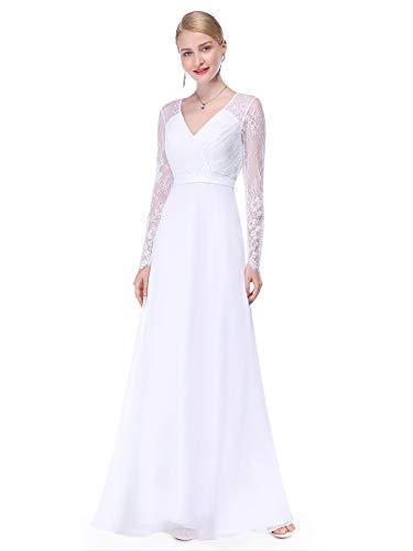Ever-Pretty Robe de Soirée Robe de cérémonie Maxi Élégante V Col Manches Longue 36 Blanc