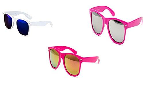 Preisvergleich Produktbild 3 er Set Sonnenbrille Nerdbrille Nerd Atzen Brille Weiß Pink Verspiegelt D750