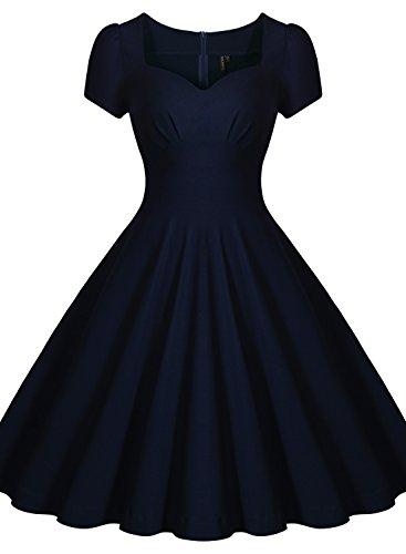 Missmay Damen Knielang V-Ausschnitt Business Abenkleid Festlich Partykleid Blau Gr.36-46 (40 (M)., Blau) - 2