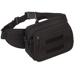 Yakmoo Bolsa de Riñonera Impermeable Bolso de Cintura Estilo Militar Táctico Molle Sistema Bolsa Multifuncional de Cuatro Maneras de Usar al Aire Libre Negro