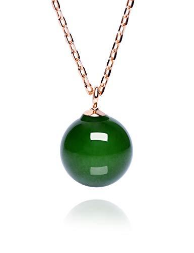 Dalwa - collana in argento 925 placcato oro 14 carati 585, con pietra naturale di giada e perla, regolabile, in confezione regalo