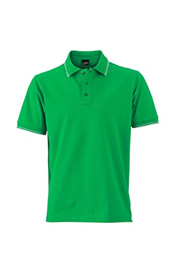 JAMES & NICHOLSON Polo in elastischer Piqué-Qualität fern-green/white