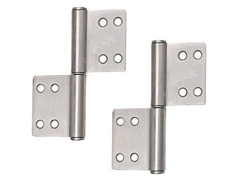 4x Scharnier Edelstahl klappbar, ideal für Innen- & Außenbereich - Stabile Türscharniere für Metall- & Holztüren (100 x 70 x 10 mm) -