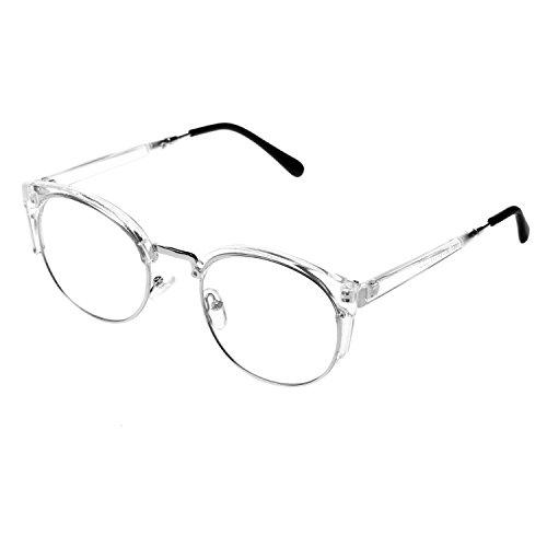 forepin Round Nerdbrille mit Metallrahmen reg; Modebrille für Unisex Damen und Herren