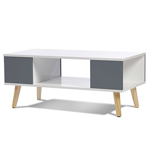 IDMarket - Table Basse Effie scandinave Bois Blanc et Gris