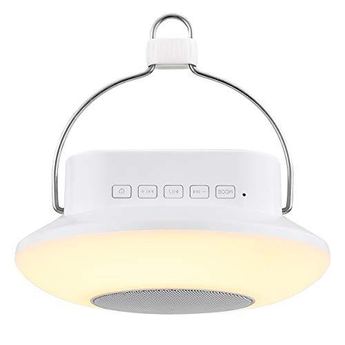 LE LED Campinglampe, Wiederaufladbare Suchscheinwerfer mit Haken, Touch Control RGBW Notfallleuchte mit Bluetooth Lautsprecher für Zelt, Notfall, Ausfälle usw.