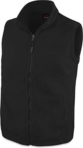 280 g/m² Herren Fleeceweste für den Übergang mit Taschen und Stehkragen - leicht, elegant, funktional Farbe Schwarz Größe S