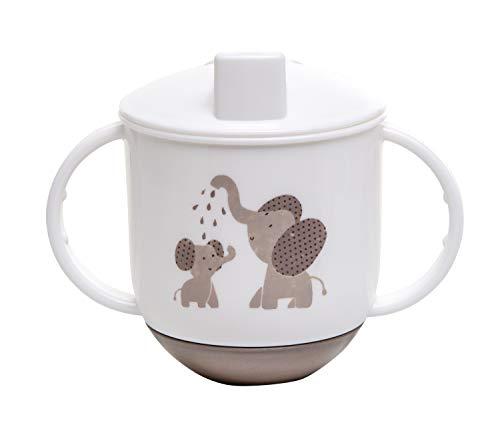 Rotho Babydesign Taza basculante, A partir de 6 Meses, Alimentación moderna, Diseño de elefantes, 10,5 x 12cm, Blanco/Marrón perla, 300240280CG