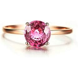 Beydodo Anillo Para Mujer 18k Real Oro 0.75ct 4-prong Turmalina Anillo Diamante Solitario Anillo Oro Rosa Talla 17
