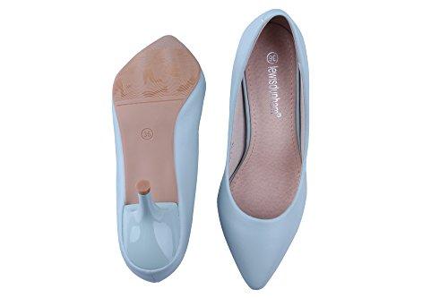 Damen Pumps Slip On Spitz Zehen Stilettos Niedrige Anti-Rutsche Weich Klassische Bequeme OL Arbeitsschuhe Blau