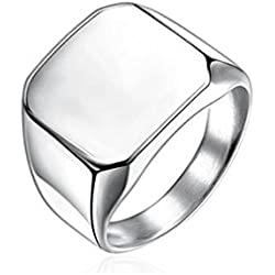 Sorella'z Mens Stainless Steel Silver Tone Square Ring