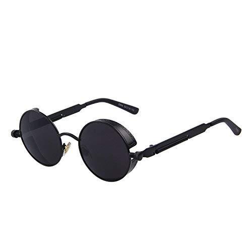 GAMT Runde Verspiegelte Retro-Sonnenbrille mit Punk Schwarz
