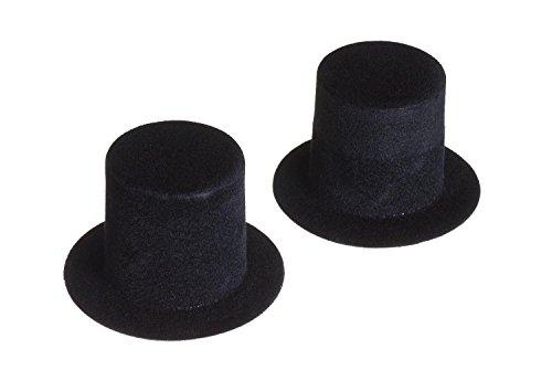 Zylinder, Schwarz, 2 Stück (Mini Hut)