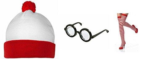 Spearmark Housewares-Où est Charlie? pour femme Lot de 3 Kit lunettes et chapeau instantané chaussettes Déguisement de (Est Charlie Kostüm Ou)