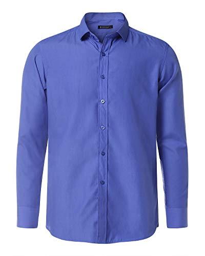 MODCHOK Herren Freizeithemd Langarm Shirt Business Hemd Trachtenhemd Freizeit Hochzeit 2 Blau L