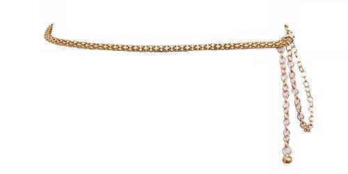 Damen Gürtel Kette Gürtelkette Gold Silber Rohr Löcher Metallic Accessoires GK R (Gold)
