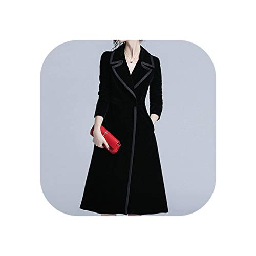 Heat-Tracing Women Fashion Comfortable Velvet Trench Coat Professional OL Temperament solid Girls warm Outdoor Long Black Trench,Black,L -