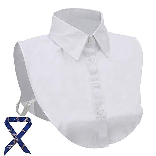 Jonifor Frauen Kragen, Damen Kragen Abnehmbare Hälfte Shirt Bluse in Baumwolle,Fashion Falscher Kragen Elegante Damenhalb Fake Hemd Bluse Weiß