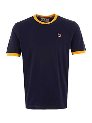 Fila Vintage Ringer T Shirt Navy/Gold S -