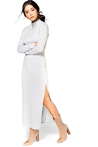 gris Femme Daphne High Neck Split Side Midaxi Dress Gris