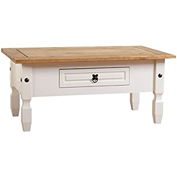 Seconique Corona  Drawer Coffee Table White Distressed Waxed Pine