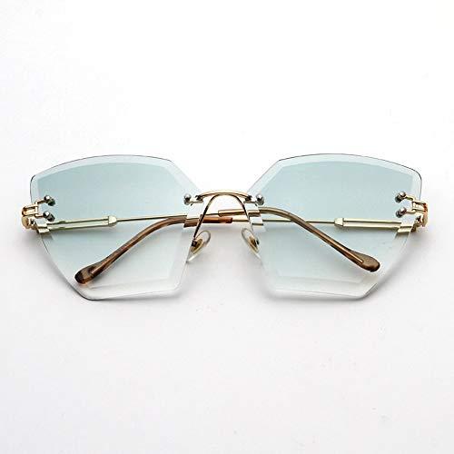 HUWAIYUNDONG Sonnenbrillen,Platz Randlose Sonnenbrille Frauen Kristall Verlaufsglas Klare Sonnenbrille Damen Vintage Übergroße Brillen Grün-Klar