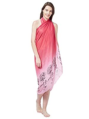 SOURBH Women's Faux Georgette Beach Wear Wrap Sarong Floral Printed Pareo Swimsuit Cover Up (S373_Pink)