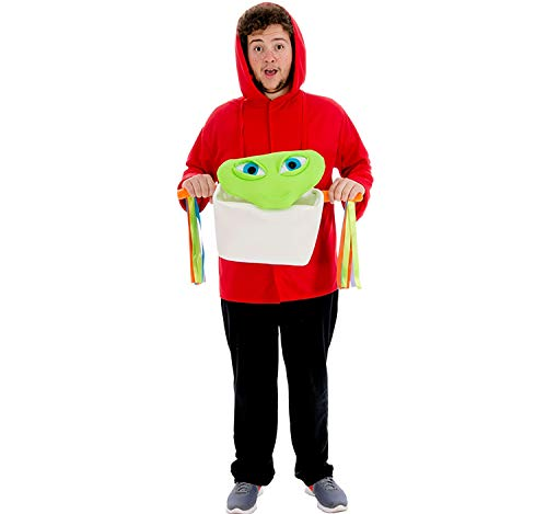 Nines d´Onil Herren Kostüm E.T. und Elliott OneSize Pullover rot mit Alien im Korb Karneval (Nine D's Kostüm)