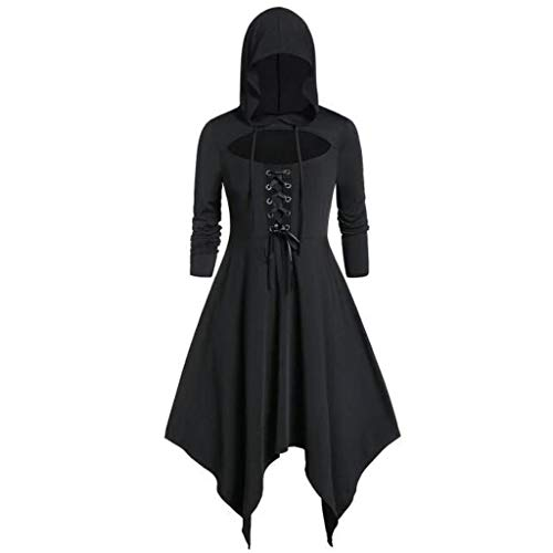 YSFWL Umhang Schwarz Kapuzenumhang Doppelseitig Hexenumhang Mit Kapuze Erwachsener FüR Cosplay Halloween Kostüm Damen Plus Size Vintage Mantel High Low Kleid Bluse Tops Lange Cape Vampir (Queen Of Hearts Kostüm Schuhe)