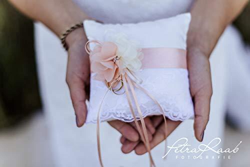AK33 Ringkissen Hochzeit Schleife Spitze elfenbein Boho Deko ivory, Mini Ring Pillow, Rustic Wedding Ring, Small Satin Bridal Ring Pillow