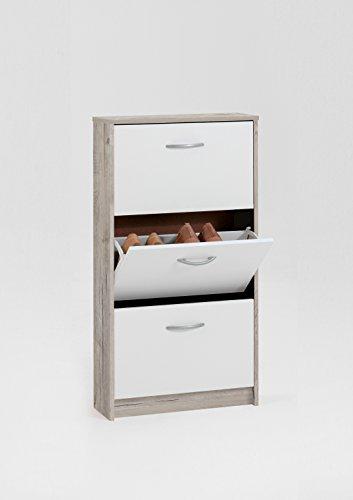 Fmd step 3,scarpiera in legno, color rovere chiaro/bianco