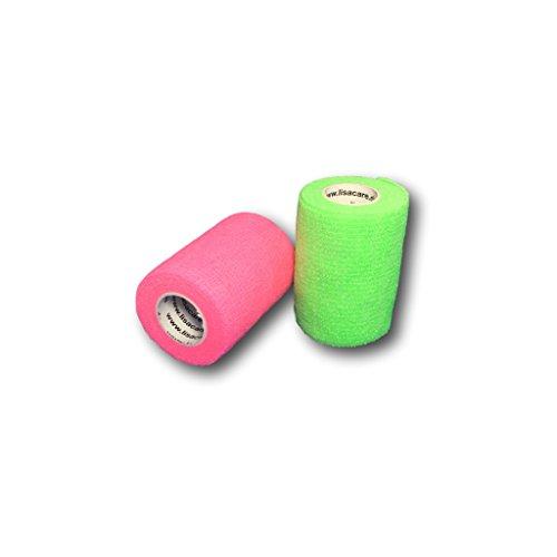 lisacare-fixierbinde-75cmx45m-2er-set-neongrun-neonpink-kohasive-bandage-wundverband-pflasterverband